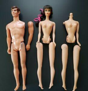 TLC LOT 1967-68 Mattel TALKING BARBIE & KEN Dolls (Mute) Mexico & Hong Kong