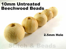 10mm Natural Wooden Beads Round Untreated Wood Balls 2.5mm Hole 100% Beechwood