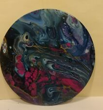 """Abstract Painting """"ORACLE"""" Fluid Art Modern Fine Acrylic ORIGINAL 10"""" Round"""