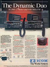 Icom's 2 Meter and 440 MHZ FM Dynamic Duo Amateur Radio Vintage Print Ad M1