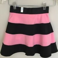 JUSTICE High Waisted Striped Skort New With Tags Girls Size 8 Pink Black