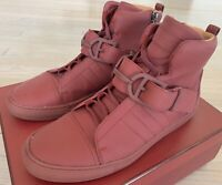 $600 Bally Heilwing Burgundy Rubber and Leather High Tops Sneakers size US 10