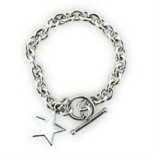 Ladies silver bracelet toggle star charm link sterling silver 7 inch new S796