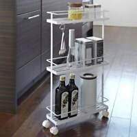 Yamazaki Küchenwagen mit Rollen Rollwagen Küchenregal Metall Slim 3 Ebenen weiß