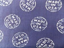 WTW Fabric Vintage Made in the USA Logo Label Novelty Blue White America Quilt