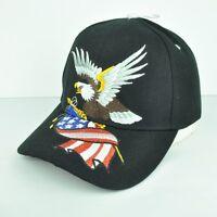 United States American Flag Bald Eagle Glitter Black Adjustable Hat Cap Curved