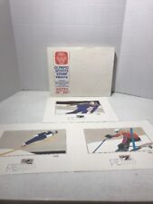 1980 Lake Placid Winter Olympic, 3 Signed & Dated Colored Prints used for Stamps