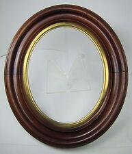 Antique Oval Wooden Picture Mirror Art Frame Brass Trim Ornate Detail