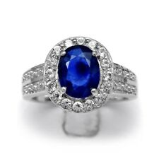 9x7mm Royal Blue Natural Sapphire Ring With White Topaz in 925 Silver