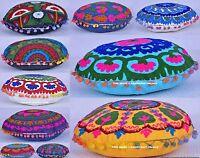 5PC Lote Suzani Bordado Funda de Cojín Redondo Almohada India
