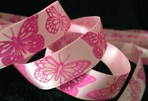 5/8 inch pink glitter Butterfly satin RIBBON ~1 Yd wings insect garden butterfly