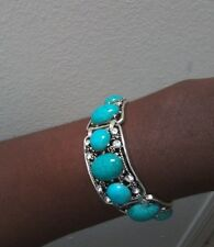 Vintage Style Silver Turquoise Cuff Bracelet
