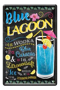 Blue Lagoon Cocktail Drink Zutaten Rezept Retro Deko Blechschild 20x30cm A0591