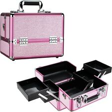 Professional Train Makeup Case Cosmetic Organizer with Trays Lock and Keys by VB