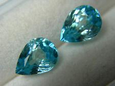3.70ctw Fancy Blue Zircon 2 gems Cambodia Gemstone Natural pear cut