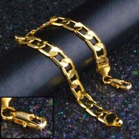18k Yellow Gold Women's Elegant 8mm Curb Link Chain Bracelet +GiftPkg D631W