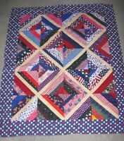HANDMADE PATRIOTIC USA WHITE BLUE RED Quilt QUILTED BABY BLANKET CRIB LAP 36X44