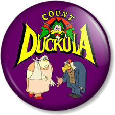 "COUNT DUCKULA 1"" Pin Button Badge Old School Cartoon Retro Kids TV Vampire 1980s"