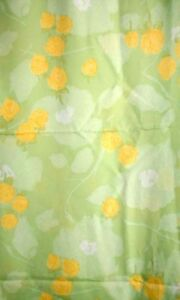 Fabric length 3.08cm sheer, Dacron, Polyester, frock sew green mist yellow roses