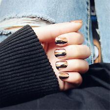Metal Orange Pink Color Fake Nails 24 Pcs Full Cover Short Oval False Nails HOT