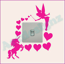 FAIRY UNICORN Light Switch Sticker Surround Girls Bedroom Hearts Wall Art AD204