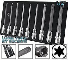 "BERGEN Extra Long TORX BIT Socket Set 1/2"" Dr Star Keys T27-T70 TX Torx Sockets"