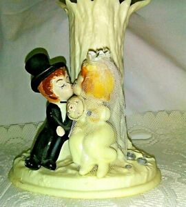 Vintage Wedding Kissing Couple Cake Topper/Flower Vase Plastic with Rhinestone