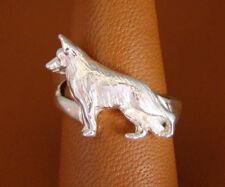 Sterling Silver German Shepherd Dog Standing Study Ring