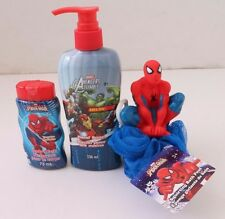 Marvel Spider-Man Avengers 3 pc Body wash,Hand Soap And Squirting Bath Pouf Set