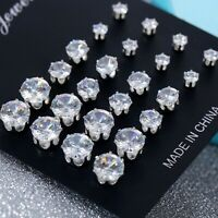 Wholesale A Set Of 12 Pairs Clear Crystal Ear Studs Earrings Shinny UK