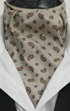 Pre-tied Tan & Brown Paisley 100% Cotton Ascot Cravat & Kerchief, Made in UK,Tie