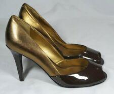 Lauren Ralph Lauren Brown Patent Gold Leather High Heel Pumps Womens US 6.5 M