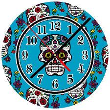 """8"""" WALL CLOCK Sugar Skull 34 Dia de los Muertos Day of the Dead Halloween Tattoo"""