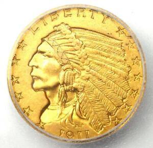 1911-D Indian Gold Quarter Eagle $2.50 Coin (Strong D) - ICG AU58 Details