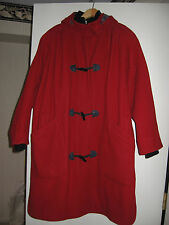 Beautiful Ladies Warm Winter Wool-Blend Lined & Hooded Red Toggle Coat Outerwear