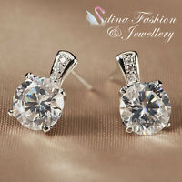 18K White Gold GP Made With Swarovski Crystal 1.25 ct Round Cut Stud Earrings