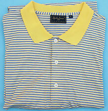 Men's XL Extra Large BOBBY JONES Sterling - Yellow Stripe Polo GOLF SHIRT $98.50