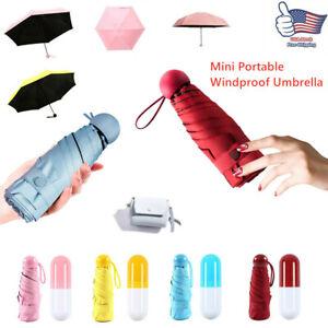 Windproof Mini Capsule Umbrella Anti-UV Pocket 6-Folding Compact Parasol Travel