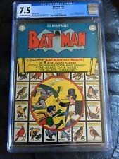 BATMAN #58 CGC VF- 7.5; OW-W; Penguin cover! scarce in high grade!