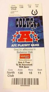2006-7 Wildcard Indianapolis Colts Kansas City Chiefs Club Ticket Peyton Manning
