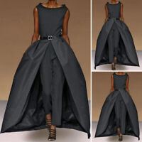 Women Loose Sleeveless Jumpsuits Solid Formal Party Playsuits Rompers Long Pants