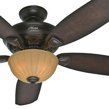 "Hunter Fan 56"" Onyx Bengal Traditional Ceiling Fan with Light Kit"