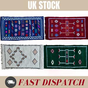 Moroccan Atlas Berber handmade Handira Vintage Style Wool Rug Carpet 100x50 cm