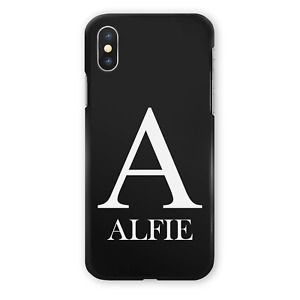 PERSONALISED INITIALS PHONE CASE SOFT BLACK SILICONE GEL COVER FOR HUAWEI Y6 Y7