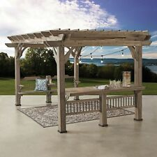 Pergola Pavilion Gazebo Bar Bench Electric 14 X 10 Cedar Outdoor Patio Backyard
