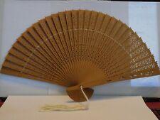 Vintage Hand Made Silk Tassel & Wooden Hand Fan