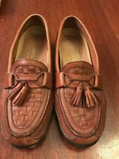 Mens French Shriner Shoes Brown LEATHER Tassle Loafer 10.5 Slip Ons  See Pics