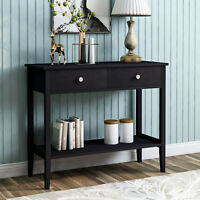 Table Bedside Cabinet Bedroom Storage Nightstand Console 2 Drawer Desk Wooden UK