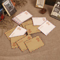 10pcs Envelopes Mini Vintage Retro Poatcards Airmail Brown Kraft Paper Gift SH