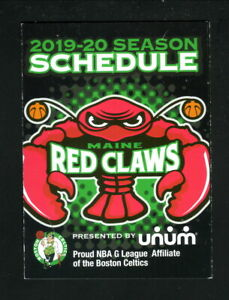 Maine Red Claws--2019-20 Pocket Schedule--G League--Celtics Affiliate